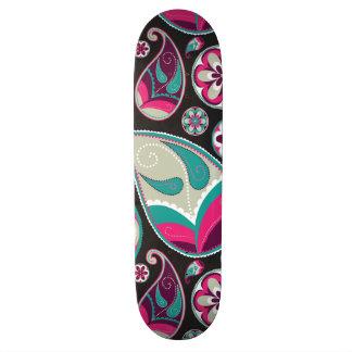 Pink Teal Paisley Pattern Skateboard