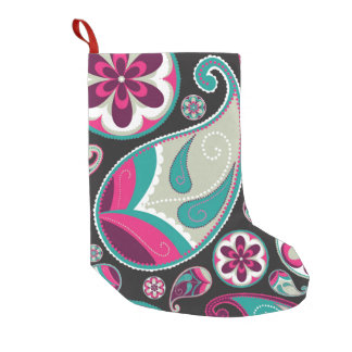 Pink Teal Paisley Pattern Small Christmas Stocking