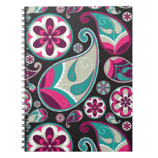 Pink Teal Paisley Pattern Spiral Note Books