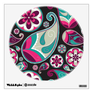 Pink Teal Paisley Pattern Wall Decal