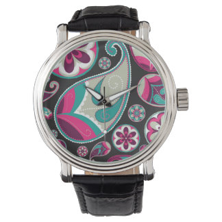 Pink Teal Paisley Pattern Watch