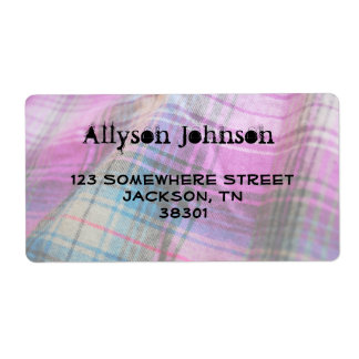 Pink & Teal Plaid Address Labels
