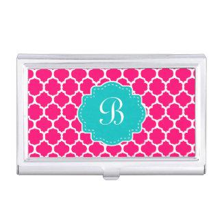 Pink Teal Quatrefoil Monogram Business Card Holder