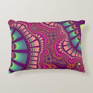 Pink Teal Rainbow Remix Accent Pillow