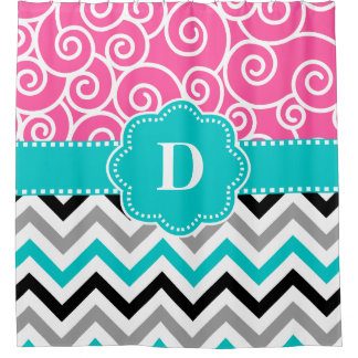 Pink Teal Swirl Chevron Personalized