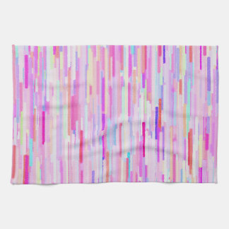 Pink teal watercolor abstract stripes pattern kitchen towel