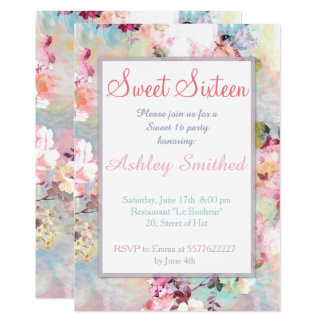 Pink Teal Watercolor Chic Floral Pattern Sweet 16 Card