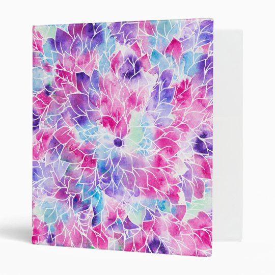 Pink teal watercolor hand painted floral pattern binder