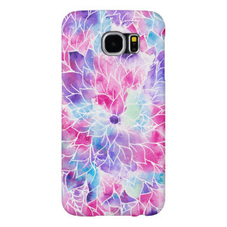 Pink teal watercolor hand painted floral pattern samsung galaxy s6 cases