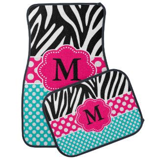 Pink Teal Zebra Monogram Car Mat