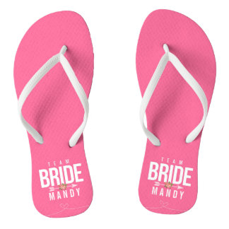 Pink TEAM BRIDE Bridesmaid Wedding Party Sandals