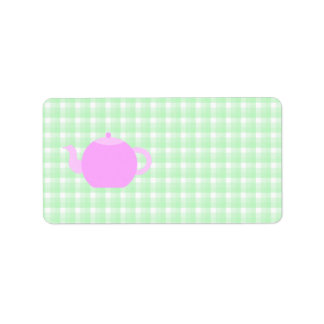 Pink Teapot Design on Green Check.
