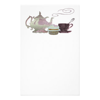 Pink Teapot, Teacup and Cupcake Art Stationery