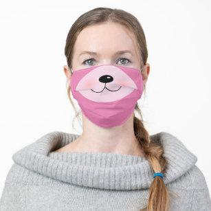 Pink Teddy Bear Animal Face Funny Cute Cartoon Cloth Face Mask