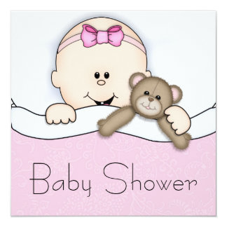 """Pink Teddy Bear Baby Girl Shower 5.25"""" Square Invitation Card"""