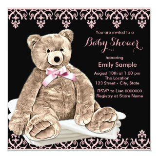 """Pink Teddy Bear Baby Shower 5.25"""" Square Invitation Card"""