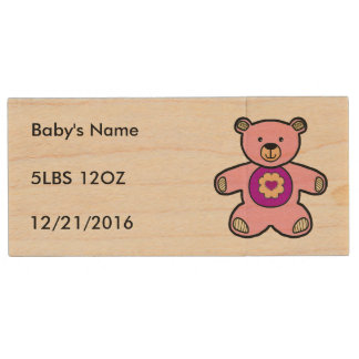 Pink Teddy Bear For Just Born Baby Girls Wooden Wood USB 2.0 Flash Drive