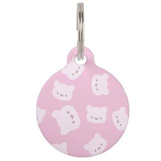 Pink Teddy Bear Pattern Pet Name Tag