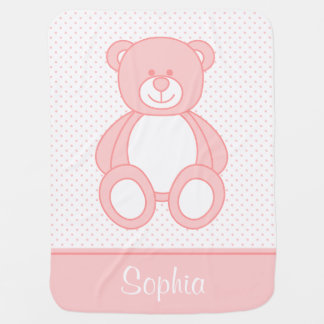 Pink Teddy Bear Personalized Baby Blanket