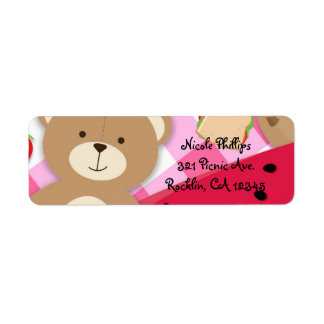 Pink Teddy Bear Picnic Birthday Party Invitation Return Address Label