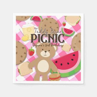 Pink Teddy Bear Picnic Summer Birthday Party Disposable Napkin