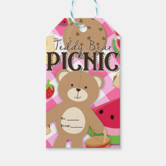 Pink Teddy Bear Picnic Summer Birthday Party Favor Gift Tags