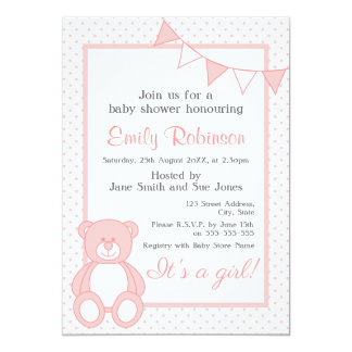 Pink Teddy Bear Shower Invitation - Girl
