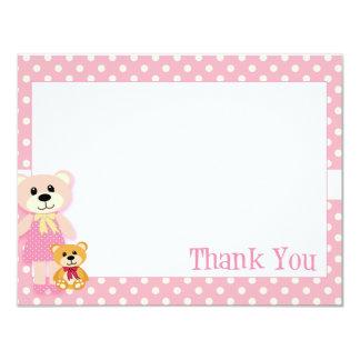 "Pink Teddy Bear Thank You Card 4.25"" X 5.5"" Invitation Card"