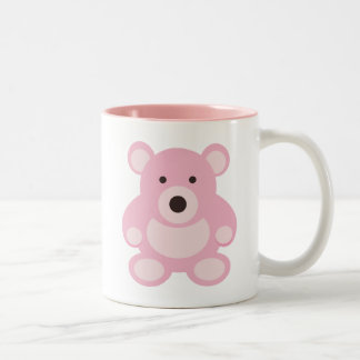 Pink Teddy Bear Two-Tone Coffee Mug
