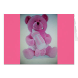 Pink teddy bear with bottle greeting card
