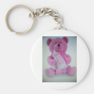 Pink teddy bear with bottle keychains