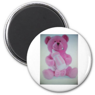 Pink teddy bear with bottle refrigerator magnet