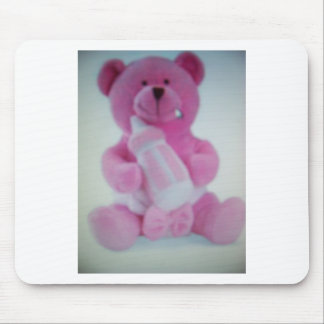 Pink teddy bear with bottle mousepads