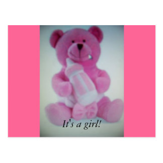 Pink teddy bear with bottle postcards