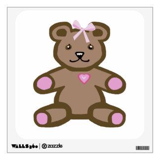 Pink teddy bear with love heart wall sticker