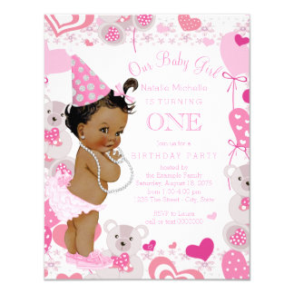 "Pink Teddy Bears Hearts Girls 1st Birthday Party 4.25"" X 5.5"" Invitation Card"