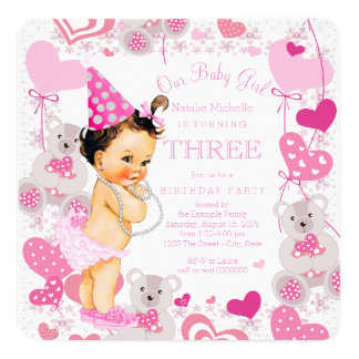 Pink Teddy Bears Hearts Girls 3rd Birthday Party Card
