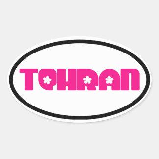 Pink Tehran Flower Design Oval Sticker