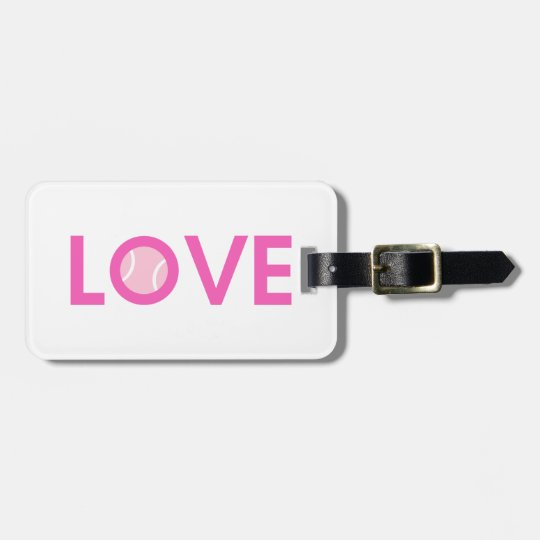 Pink Tennis Ball ~ LOVE ~ Personalized Luggage Tag