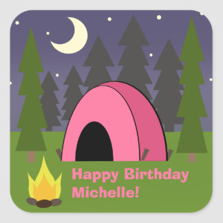 Pink Tent Birthday Camping Party Sticker