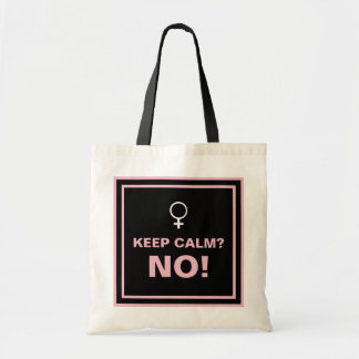 Pink Text Keep Calm No Tote Bag
