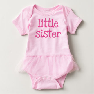 Pink Text Little Sister Baby Bodysuit
