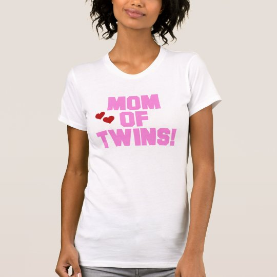 Pink Text Mom of Twins T-Shirt