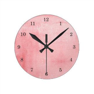 Pink Textured Round Clock