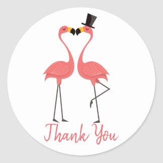 Pink Thank You Flamingo Tropical Wedding Luau Classic Round Sticker
