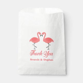 Pink Thank You Flamingos Wedding Party Luau Favour Bag