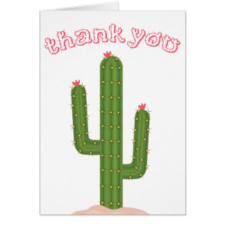 Pink Thank You Green Cactus Card