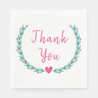 Pink Thank You Green Laurel Leaf Wedding Party Disposable Napkin
