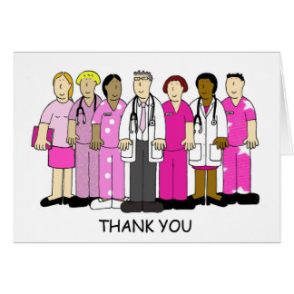 Pink Thank you to breast cancer medical team. Card