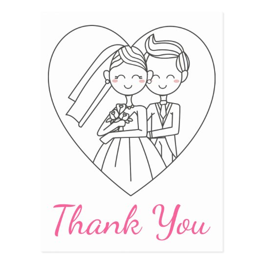 Pink Thank You Wedding Bride And Groom Postcard